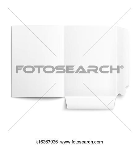 Clip Art of White empty unfolded folder. k16367936.