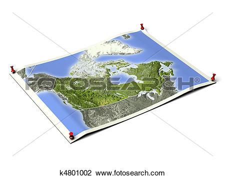 Clip Art of Canada on unfolded map sheet. k4801002.