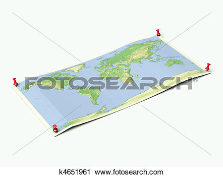 Clipart of World map on unfolded map sheet k4651961.