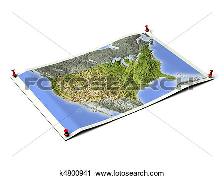 Clipart of United States on unfolded map sheet. k4800941.
