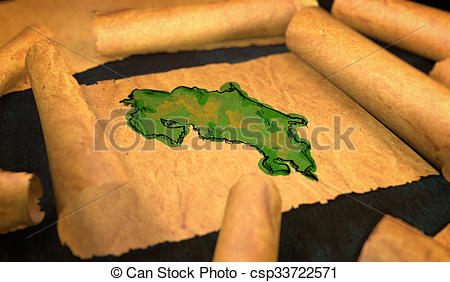 Stock Illustrations of Costa Rica Map Painting Unfolding Old Paper.