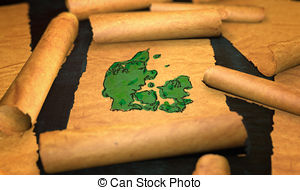 Clip Art of Switzerland Map Painting Unfolding Old Paper Scroll 3D.