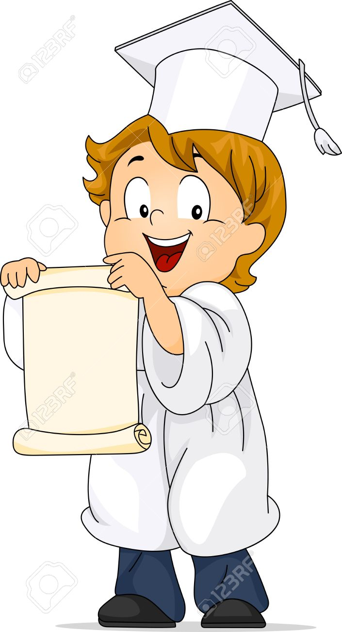 Illustration Of A Kid Unfolding His Diploma Stock Photo, Picture.