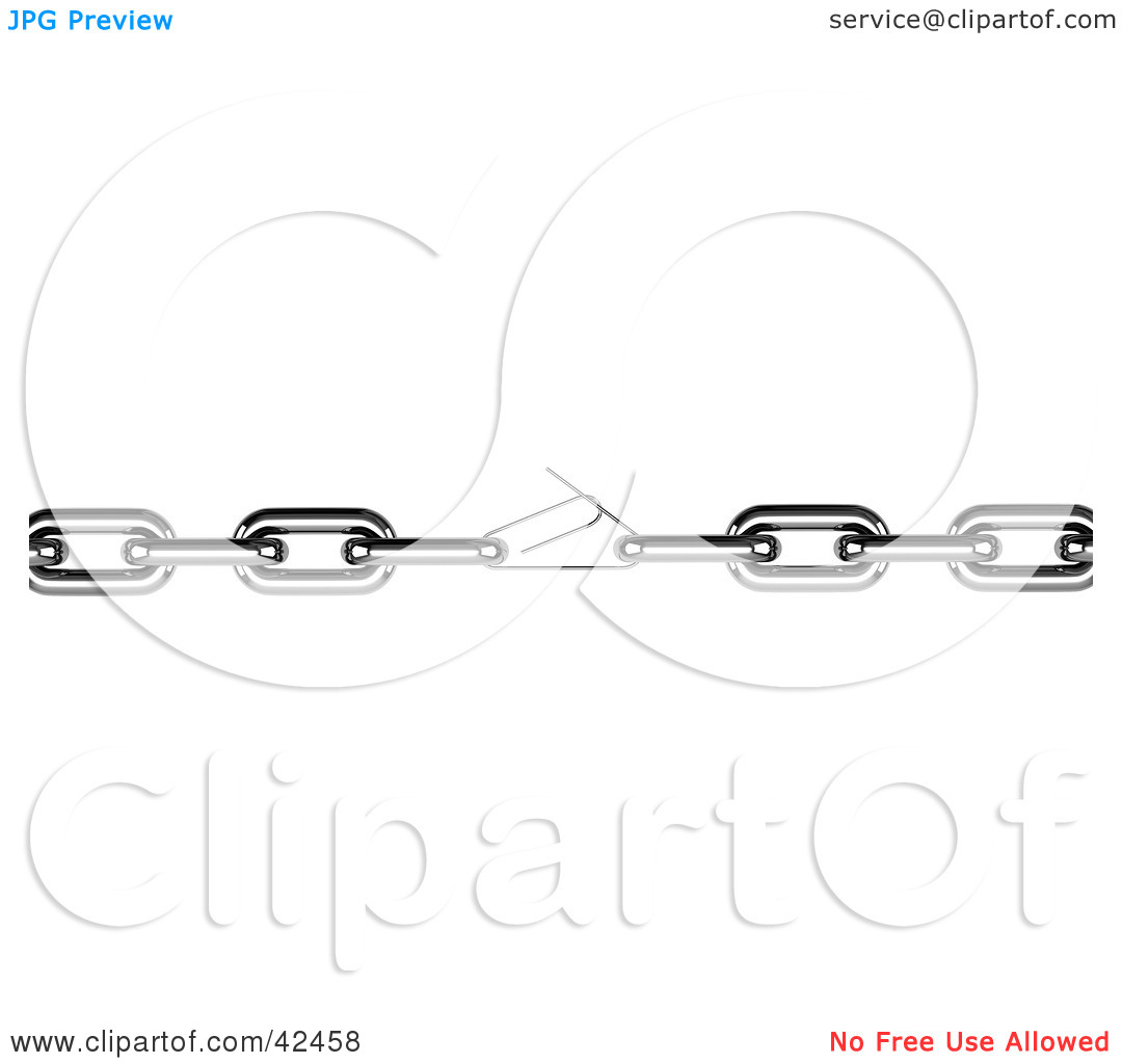 Clipart Illustration of a Chain Held Together With A Weak.