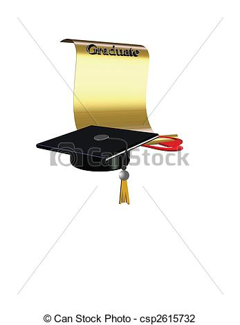 Vector Illustration of diploma unfurled in 3d.
