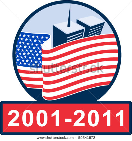 Unfurreled american flag clipart.
