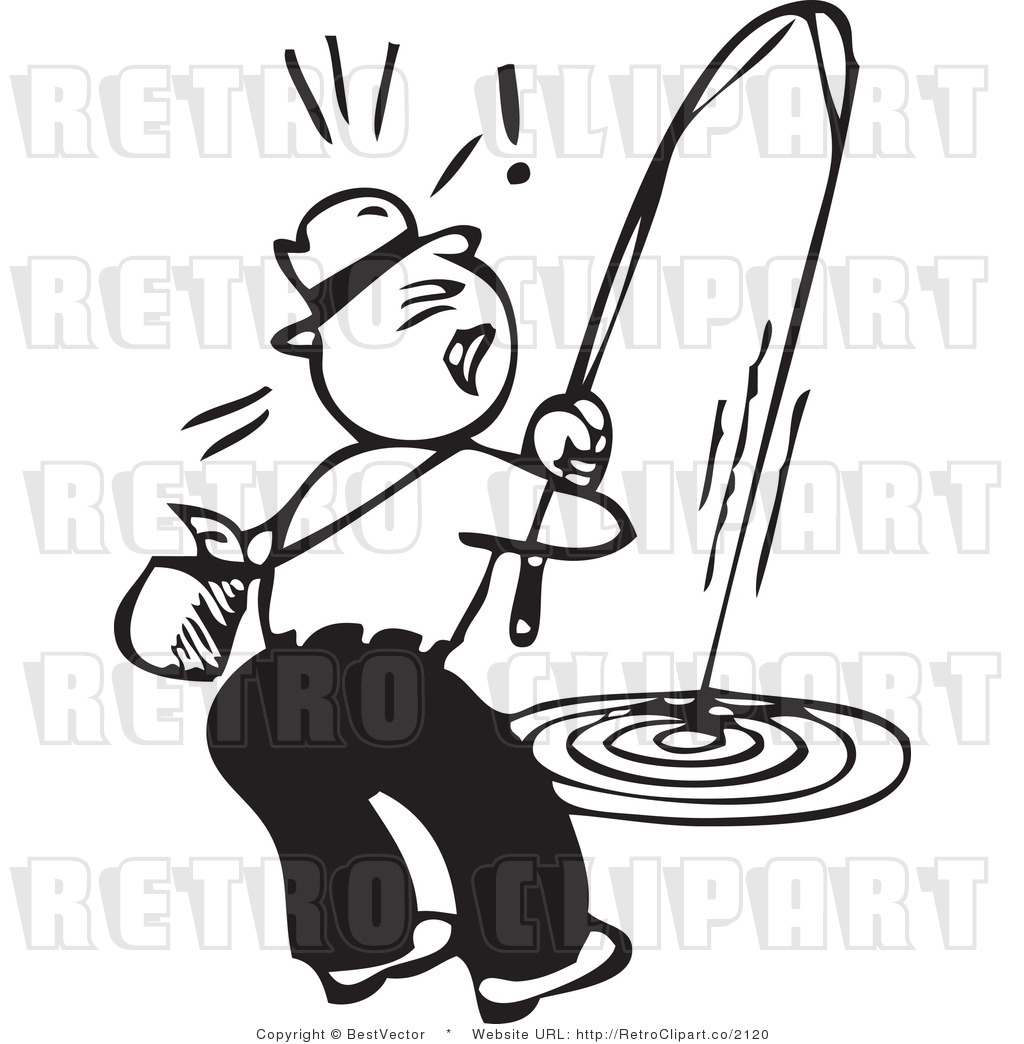Black And White Retro Vector Clip Art Of A Fisherman Pulling A Rod.