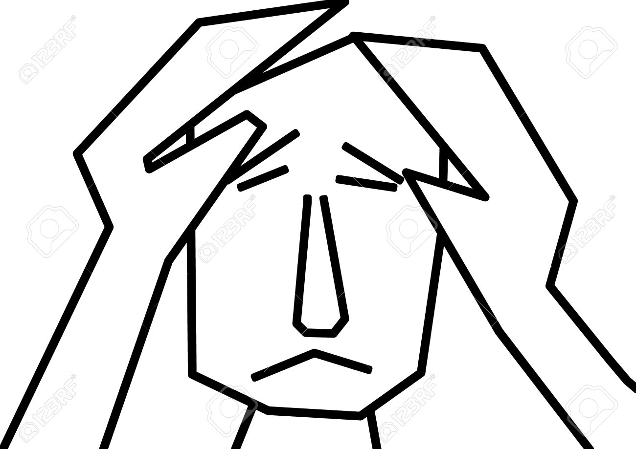 Unhappy Man Feeling Blue And Depression In Black And White Clipart.