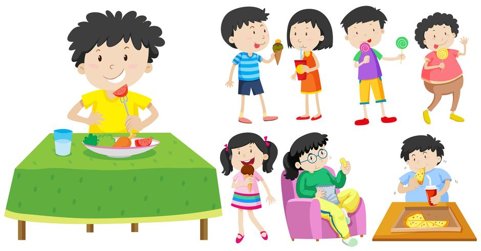 Children eating healthy and unhealthy food.