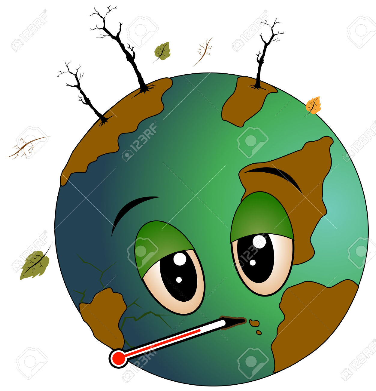Sick Earth With Clipping Path Royalty Free Cliparts, Vectors, And.