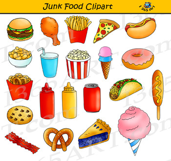 Junk Food Clipart Set.