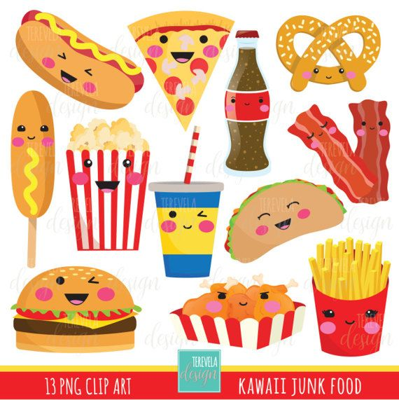 50% SALE junk food clipart, fast food clipart, kawaii.