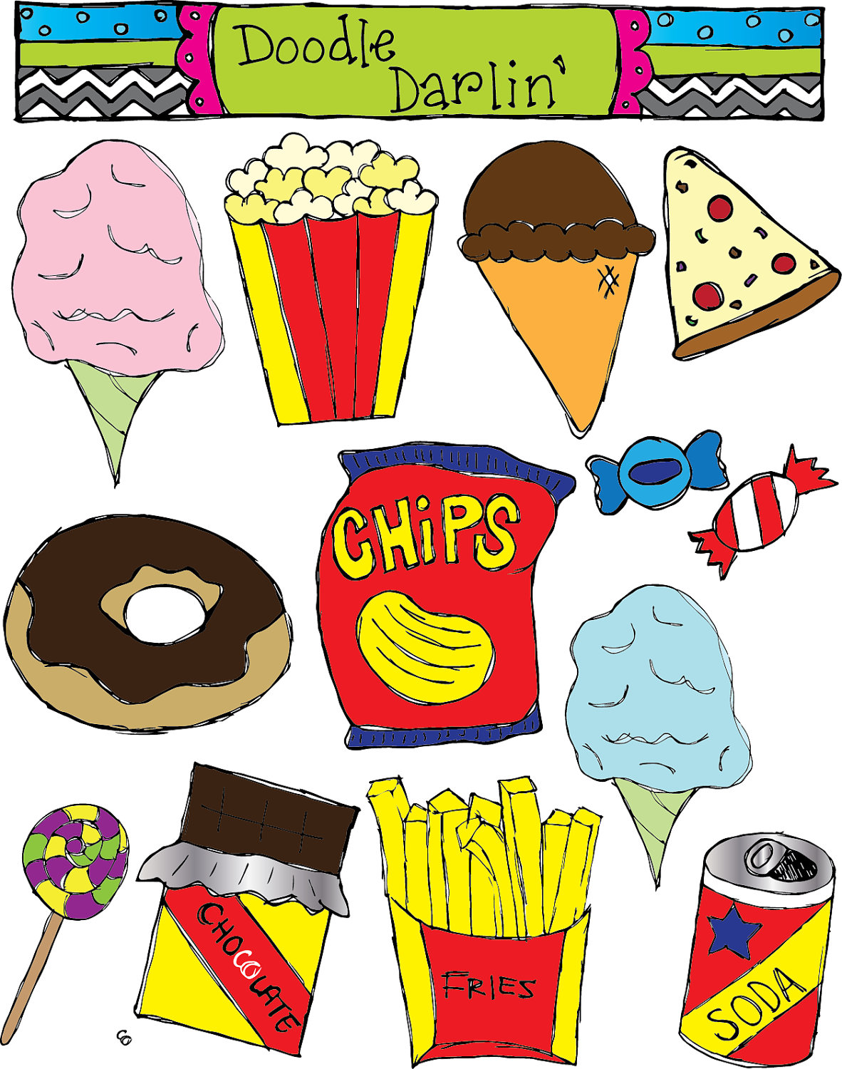Unhealthy Food For Kids Clipart.