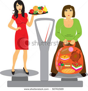 Healthy and unhealthy person clipart.