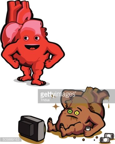 The healthy and unhealthy heart Clipart Image.