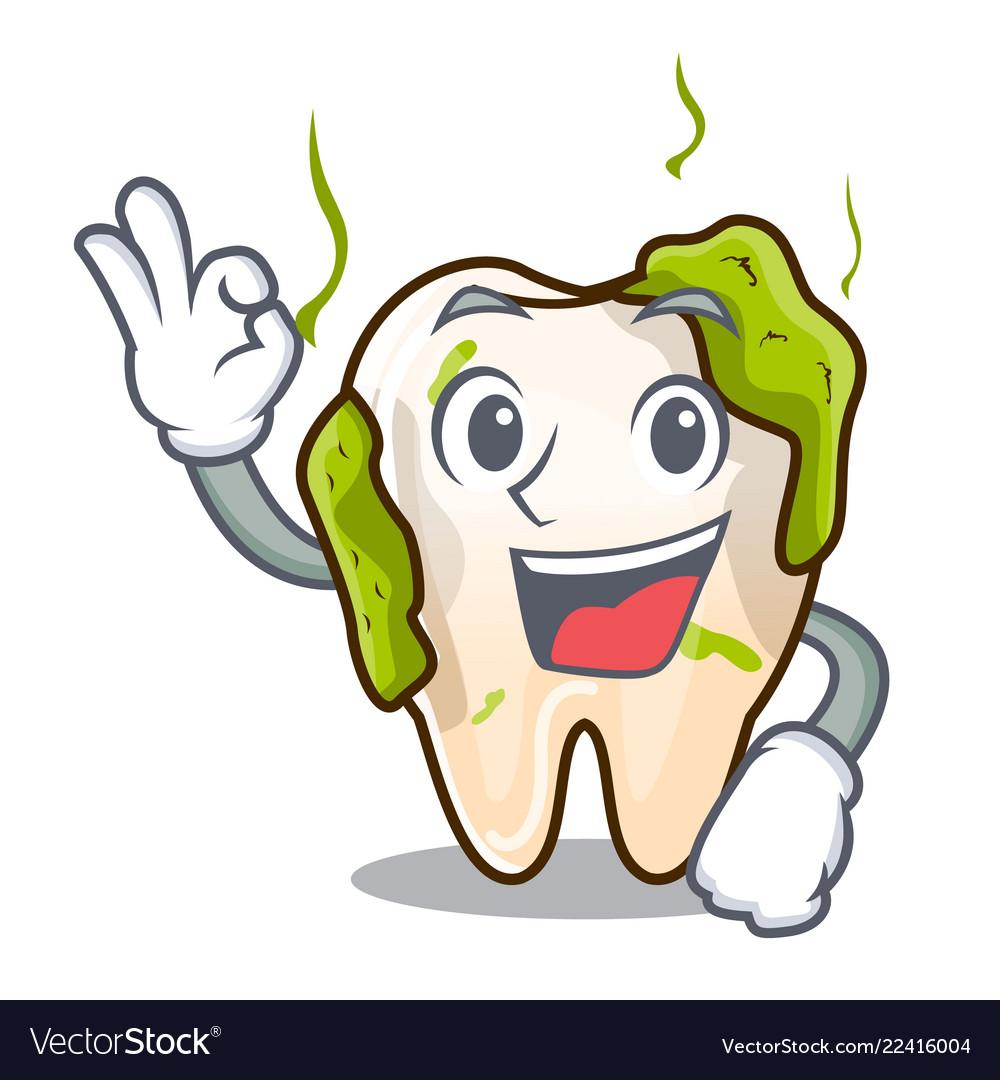 Okay cartoon unhealthy decayed teeth in mouth.