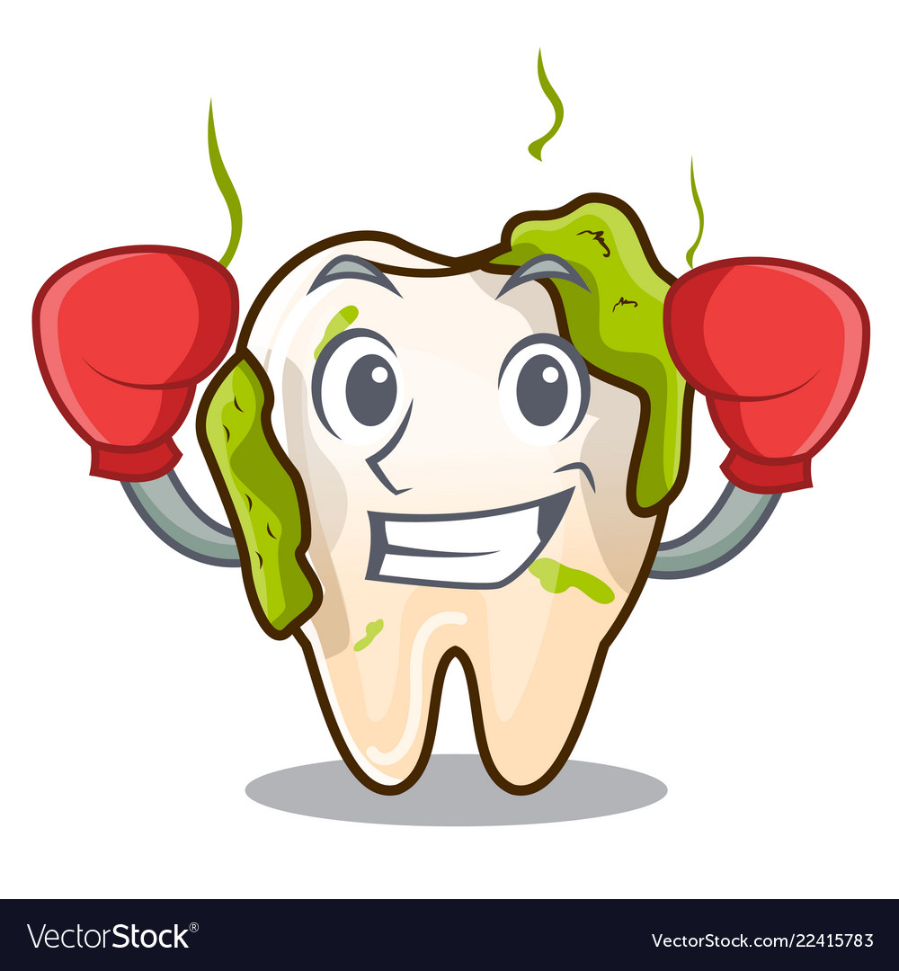 Boxing character unhealthy decayed teeth before.