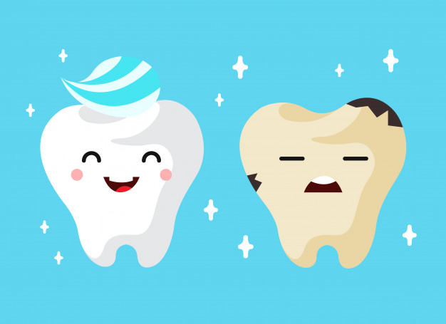 Healthy and unhealthy sad tooth cartoon characters. Vector.