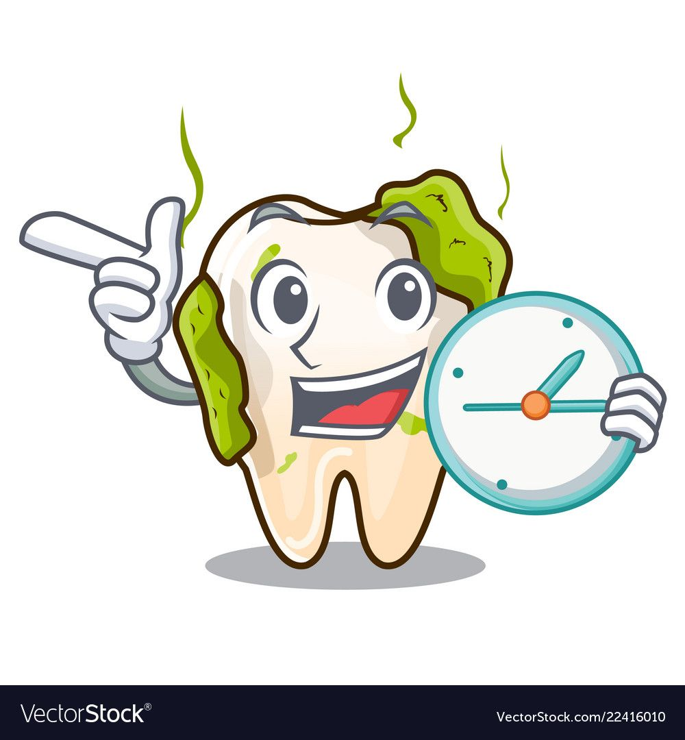 With clock cartoon unhealthy decayed teeth in Vector Image.
