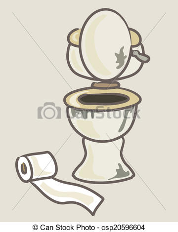 Vector Clipart of dirty toilet.