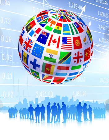 Business Team with Flags Globe stock vector.