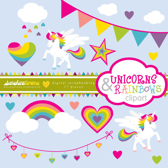 Unicorns and Rainbows Clipart.