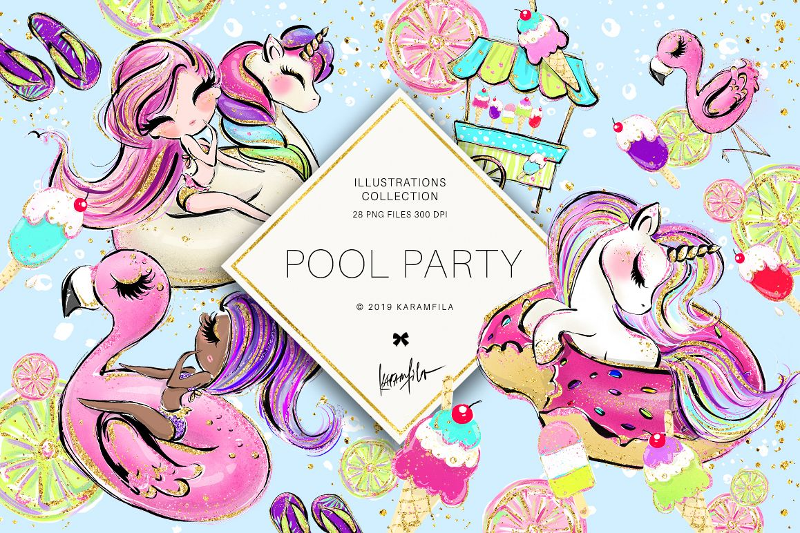 Unicorn Flamingo Summer Clipart, Pool Party..