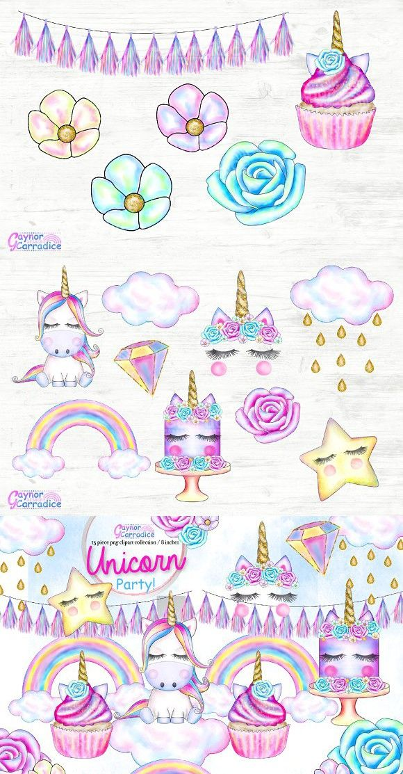 Unicorn Party Clipart set in 2019.