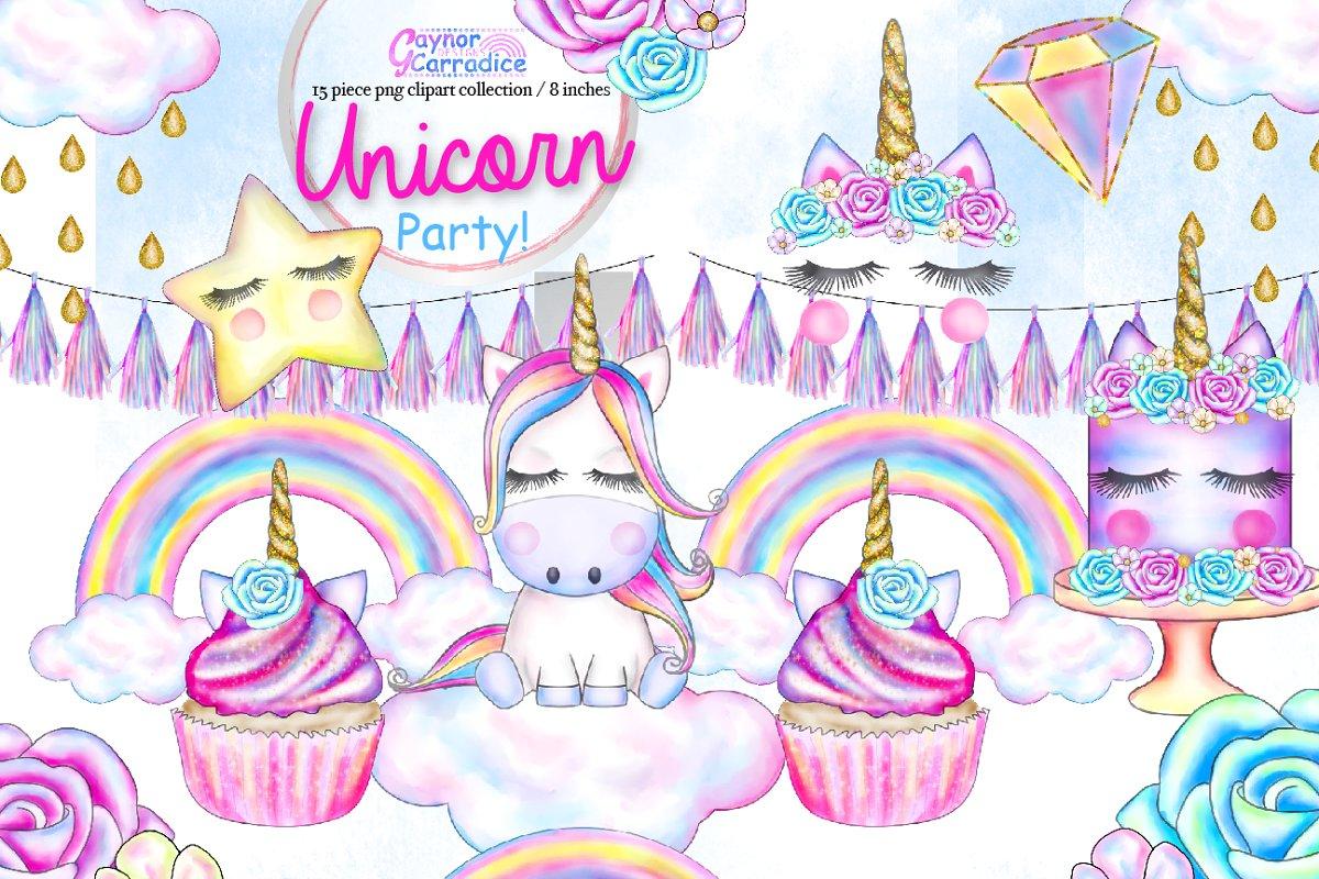 Unicorn Party Clipart set.