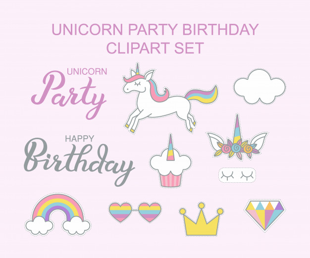 Unicorn party birthday clipart set magical design Vector.