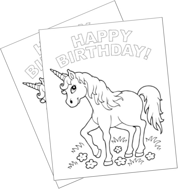 Unicorn Happy Birthday Coloring Pages.