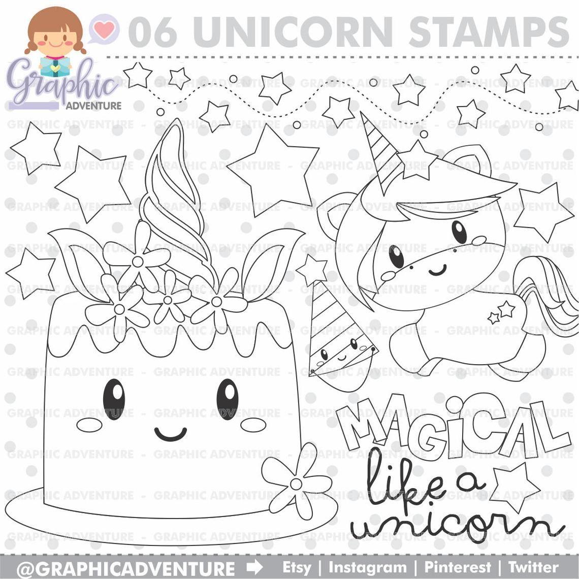 Unicorn Stamp, Birthday Stamp, COMMERCIAL USE, Digi Stamp.