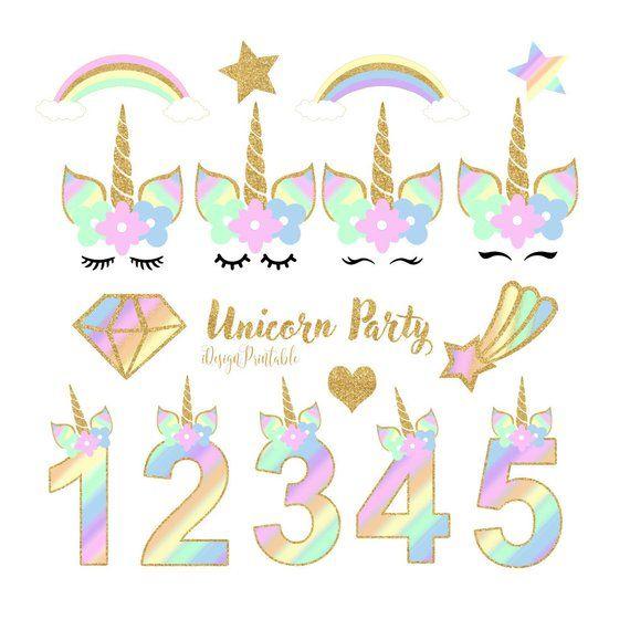 Rainbow Unicorn Face Clipart, Unicorn Party Clipart, Unicorn.