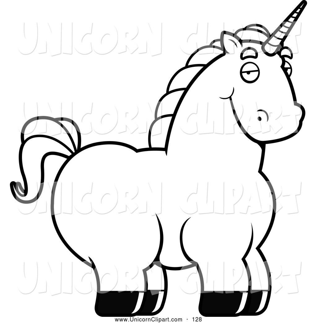 Unicorn Black And White.
