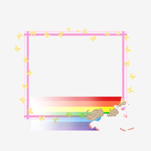 Rainbow Pony Children Border, Unicorn, Rainbow, Rainbow Pony.