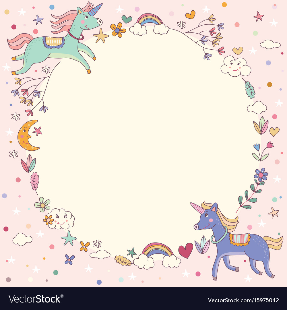 Magical rainbow unicorn wreath circle template.