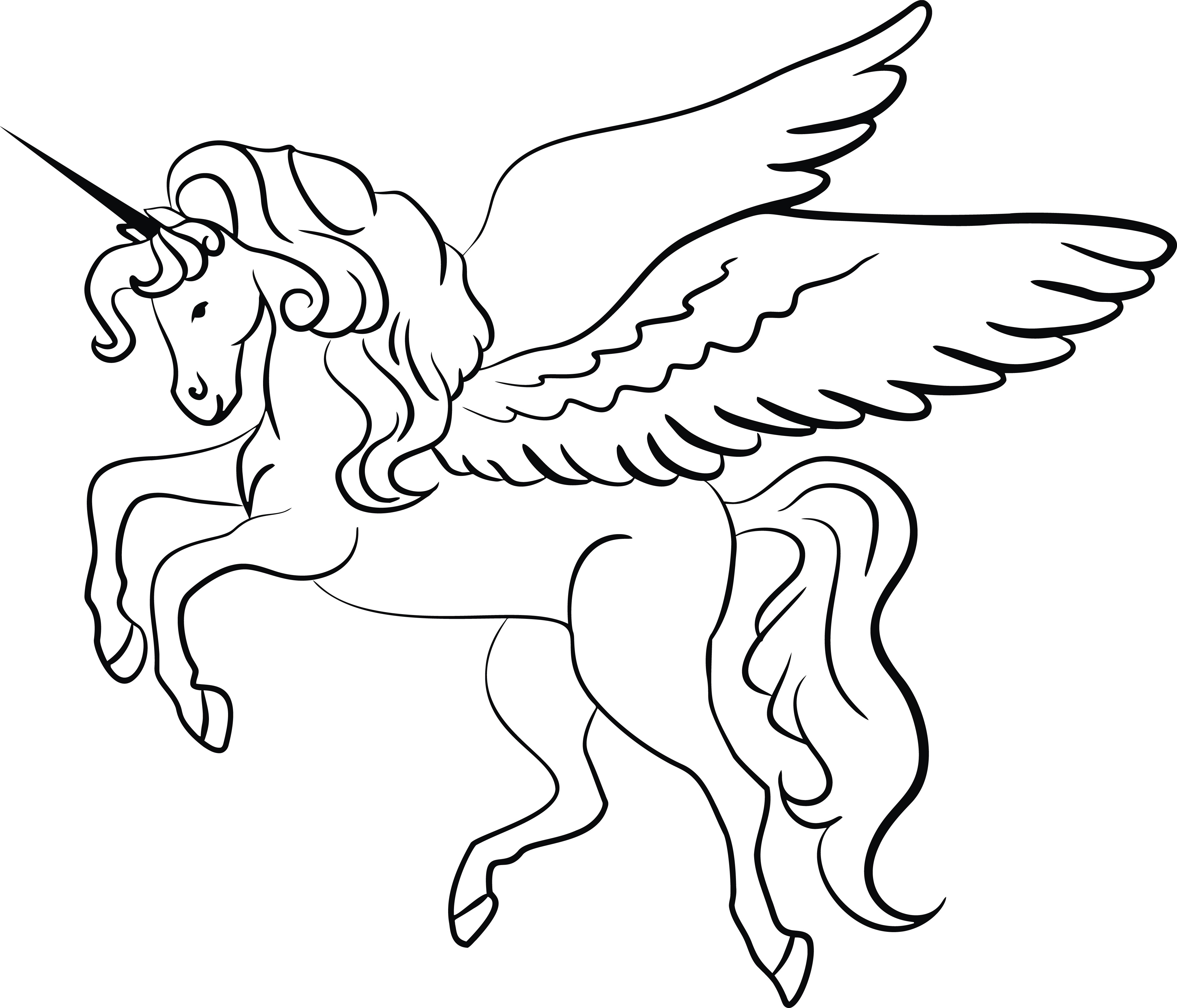 Unicorn With Wings Clipart Black And White & Unicorn With.