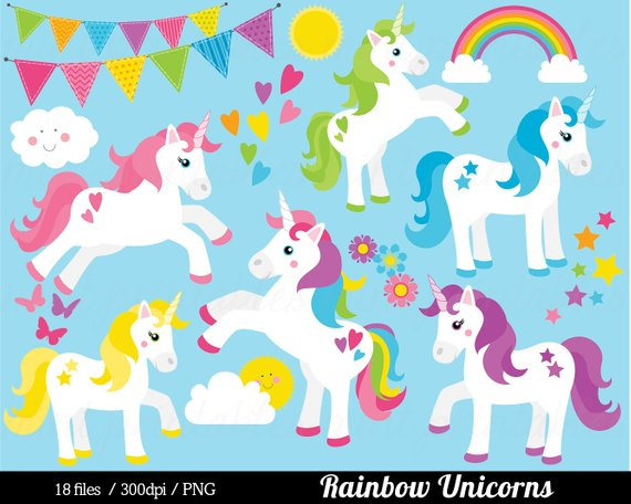 Unicorn Clipart, Unicorn Clip Art, Pony horse rainbow pink.