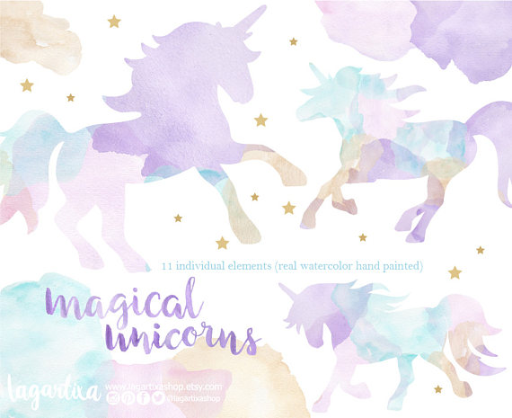 Pastel Watercolor Unicorn Clip art, silhouette, runing, hand.