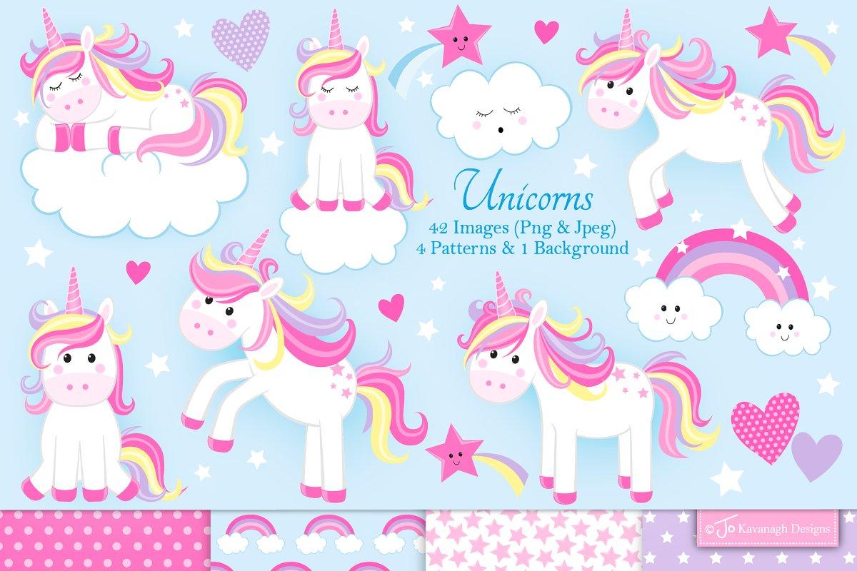 Unicorn clipart, cute unicorns.