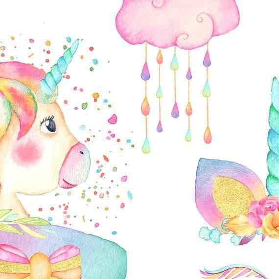 Watercolor Unicorn Face Clipart, Magical Unicorns.
