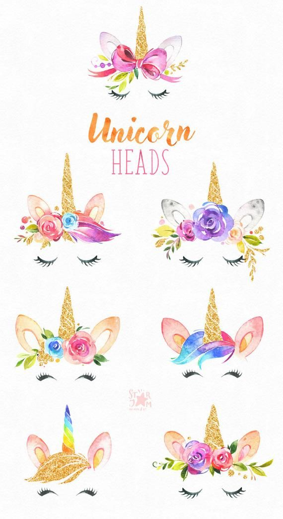 Unicorn Heads Gold. Watercolor magic clipart, pink, rainbow.