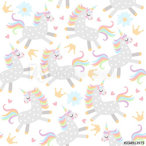 Seamless pattern with little unicorns, crowns,hearts and.