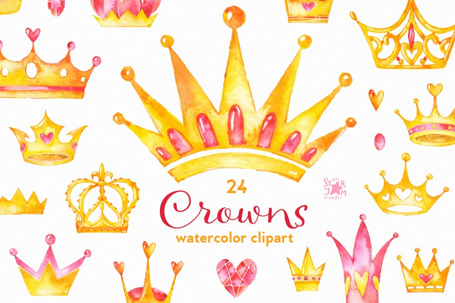 Crowns. Watercolor clipart.