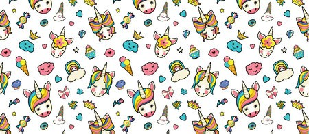 Pattern with cute faces of unicorns, ice cream, stars.