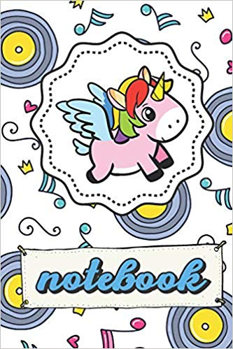 Buy Notebook: Unicorn Note Book With Music Hearts Crowns.