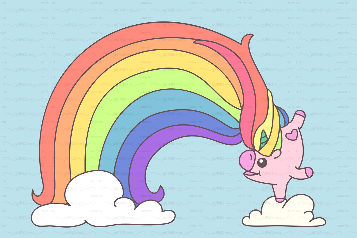 Unicorn with hearts and stars clipart no watermarks clipart.