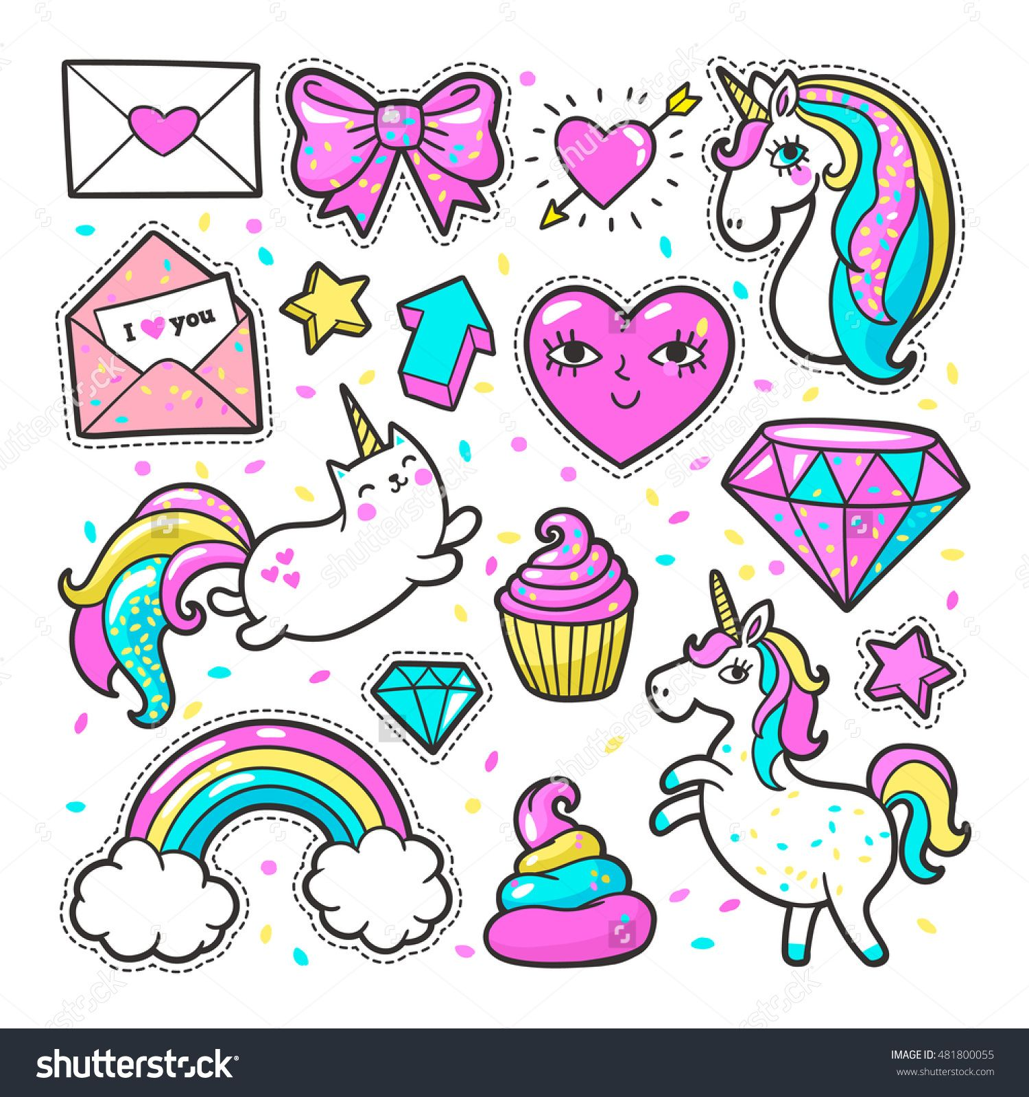 Fashion Patch Badges With Unicorns, Hearts, Cats, Rainbow.