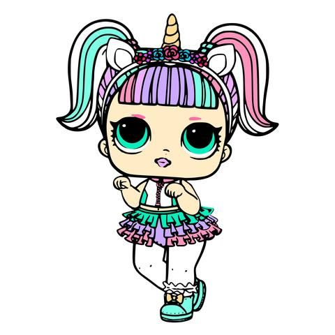 Unicorn Surprise LOL Doll SVG JPEG High Def 300 dpi PNG EPS.