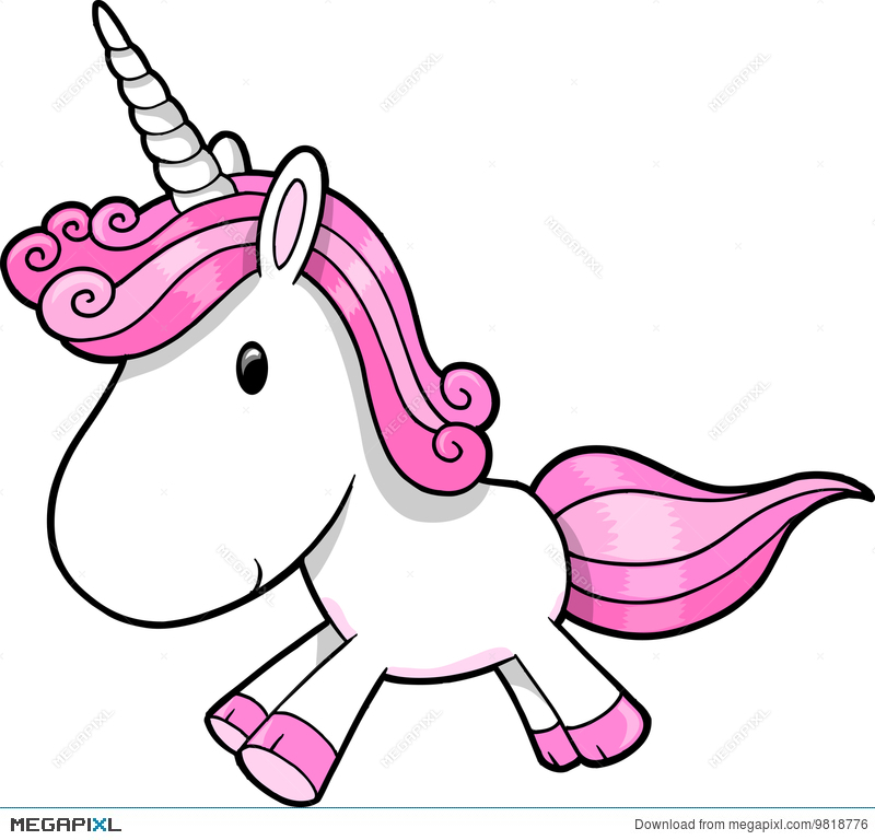 Pink Unicorn Vector Illustration 9818776.